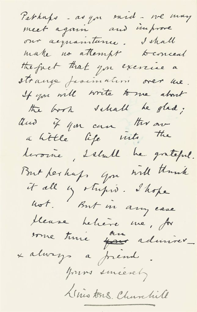 CHURCHILL, Winston S Autograph letter signed ('Winston S Chu...